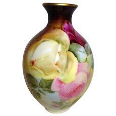 Antique French Limoges Vase Hand Painted Multicolored Tea Roses