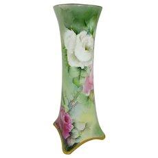 German Bavaria Vase Hand Painted Roses Artist Signed