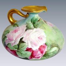 JPL Limoges - France - French Porcelain - Squat Pitcher - Ewer - Vase - Beautiful Artistry - Hand Painted - Pink Tea Roses - Artist Signed - One-of-a-Kind - Museum Quality - Treasured Heirloom