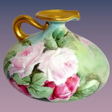 JPL Limoges - France - French Porcelain - Squat Pitcher - Ewer - Vase - Beautiful Artistry - Hand Painted - Pink Tea Roses - Artist Signed - One-of-a-Kind - Museum Quality - Treasured Heirloom