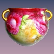 Hanging Jardiniere Vase Cache Pot Hand Painted Tea Roses