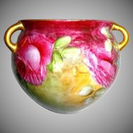Hanging Jardiniere Vase Cache Pot Hand Painted Tea Roses