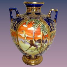 Nippon Japan Cobalt Gold Scenic Vase with Ostriches