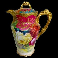 Limoges France Chocolate Pot Hand Painted Roses Signed Rancon