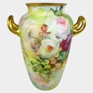 Antique German Rosenthal Vase Hand Painted Roses Artist Signed