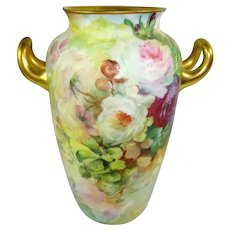 Antique German Rosenthal Vase Hand Painted Roses Artist Signed