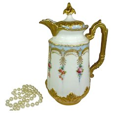 Antique French Limoges France Chocolate Pot Tea Roses Heavy Gold