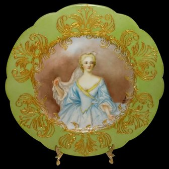 Antique French Limoges Jeweled Portrait Plate Artist Signed
