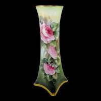 """Magnificent 15"""" Bavaria Vase Hand Painted Pink Roses"""