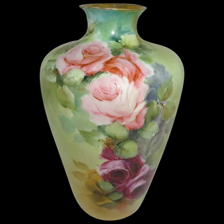 Vase Hand Painted Pink Tea Roses