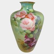 Antique German Rosenthal Vase Hand Painted Pink Tea Roses