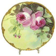 Haviland Limoges Plate Hand Painted Pink Roses Pickard Artist Signed