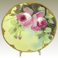 Haviland Limoges Plate Hand Painted Pink Roses Pickard Artist Signed