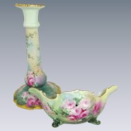 Antique Austrian Candle Stick and Candy Dish Hand Painted Tea Roses