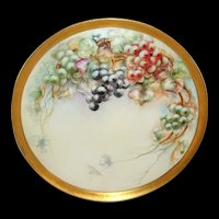 """18"""" Antique Limoges Tray Charger Hand Painted Grapes Signed Dated 1908"""