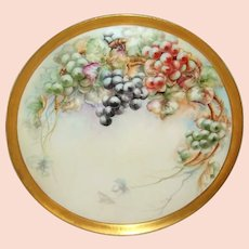 "18"" Antique Limoges Tray Charger Hand Painted Grapes Signed Dated 1908"