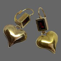 Passionate gold plated sterling silver heart and garnet stone earrings 14k gold hypoallergenic ear wire romantic contemporary jewelry design upscale