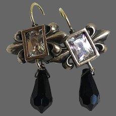 Fleur-de-lis sterling silver clear zircon heraldic shield earrings black Swarovski crystal drop 9k gold hypoallergenic lever back clasp earrings romantic contemporary jewelry