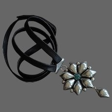 Handmade sterling silver flower green tourmaline pendant leather couture necklace