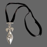Designer necklace Fleur de lis sterling silver zircon pendant leather long necklace upscale pregnancy jewelry funky upscale jewel  design