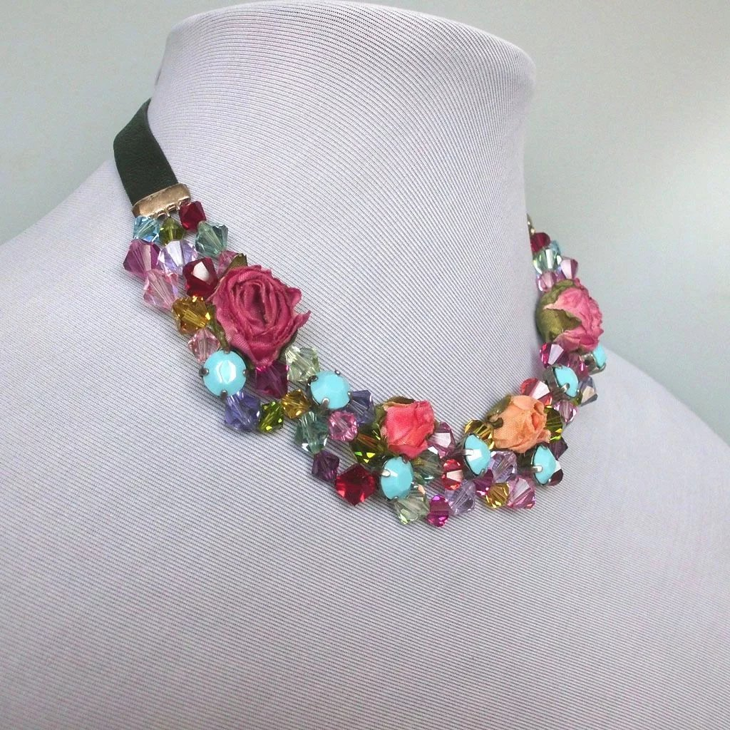 Fabric Flowers And Crystals Leather Choker Contemporary