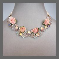 Fabric flowers Swarovski crystals necklace choker romantic contemporary jewelry.