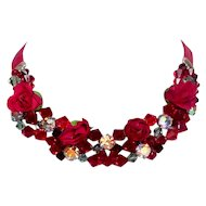 Burgundy red fabric roses Swarovski crystal bead necklace leather choker