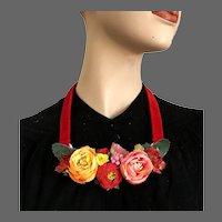 Colorful silk roses bib necklace velvet choker romantic contemporary jewelry design upscale