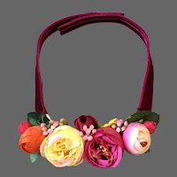 Colorful silk roses bib necklace velvet choker romantic contemporary jewelry design upscale