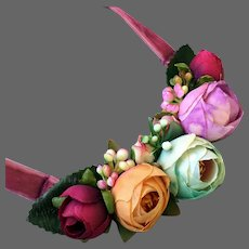 Colorful silk flowers velvet bib necklace romantic contemporary jewelry design