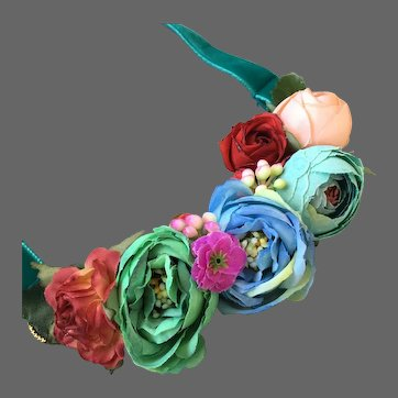 Colorful silk flowers bib necklace velvet choker romantic contemporary jewelry design