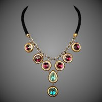 Passionate gold tone handmade DAS clay colorful Lucite gems black rope gold plated chain bib necklace contemporary designer jewelry upscale