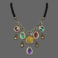 Passionate gold tone handmade DAS clay colorful Lucite gems green rope gold plated chain bib necklace contemporary designer jewelry upscale
