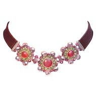 Purple leather choker ruby crystal flower pendant upscale necklace