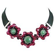 Red crystal flowers green aventurine black leather choker