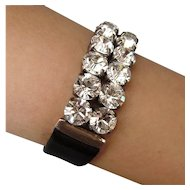 Swarovski crystal rhinestones on black leather cuff bracelet design