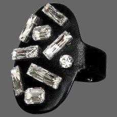 Extraordinary Swarovski rhinestones bracelet silver ends leather crystal cuff handmade contemporary jewelry upscale couture design