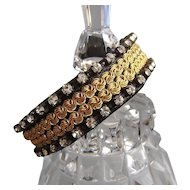 Black leather golden metal chain cuff with silver-clear Swarovski crystals Velcro sterling silver closure couture bracelet statement jewelry design