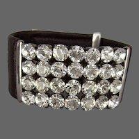 Genuine Swarovski crystal rhinestones on tailored leather cuff bracelet design