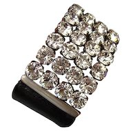 Genuine Swarovski crystal  rhinestones on tailored leather cuff bracelet design