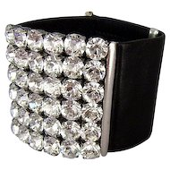 Couture leather cuff Swarovski rhinestones bracelet, handmade crystal jewelry