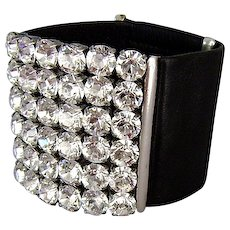 Couture leather cuff Swarovski rhinestones bracelet, handmade crystal jewelry