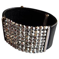 Black leather cuff silver shade Czech crystals bracelet