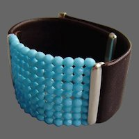 Brown leather cuff turquoise Czech fire polished beads silver clasps bracelet couture jewelry design