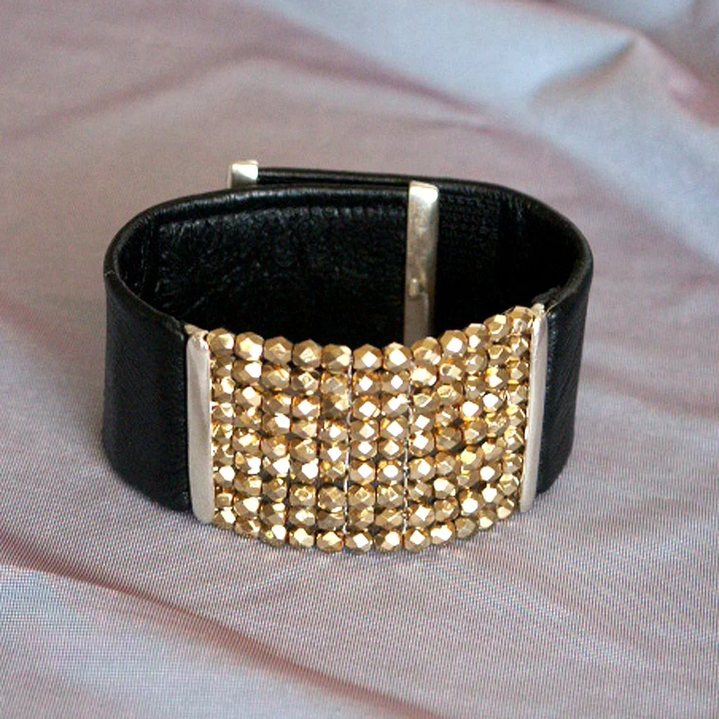 Black Leather Cuff Czech Gold Tone Crystal Beads Silver