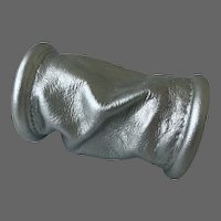 Silver tone elegant bracelet handcrafted soft tube-shape leather cuff couture jewelry design