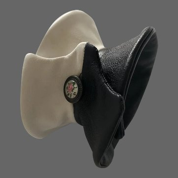 Elegant bold black and white cloche design leather cuff creative jewelry hand tailored genuine leather bracelet