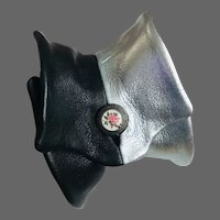 Elegant bold silver-black slouchy cloche pattern leather cuff contemporary jewelry hand tailored couture bracelet design