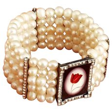 Red tulip cameo silver pendant Swarovski crystals freshwater pearl bracelet upscale jewelry design