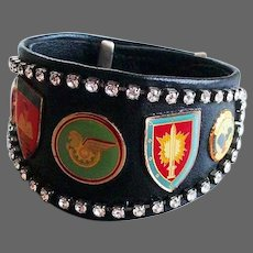 Bold couture black leather crystal cuff bracelet rhinestones and emblems easy rider biker's jewelry design